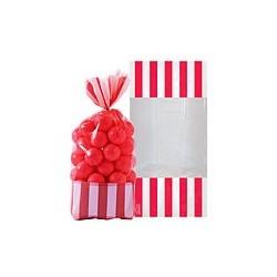 10 sachets rayés Rouge 27 cm