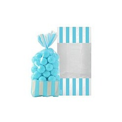 10 sachets rayés Bleu turquoise 27 cm