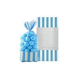 10 sachets rayés Bleu ciel 27 cm