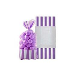 10 sachets rayés Violet 27 cm