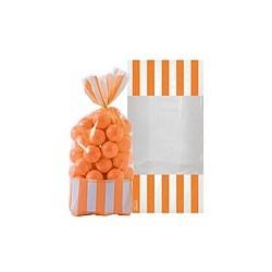 10 sachets rayés Orange 27 cm