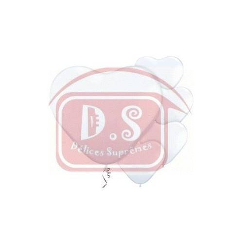 "5 Ballons Cœur Blanc 11""ou 28cm Latex"