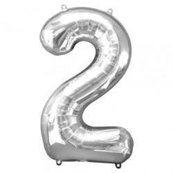 Ballon argenté chiffre 2