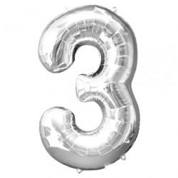 Ballon argenté chiffre 3