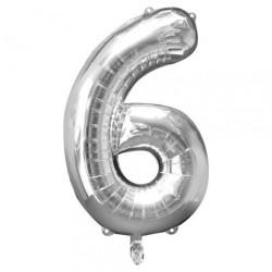 Ballon argenté chiffre 6