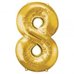 Ballon couleur Or chiffre 8