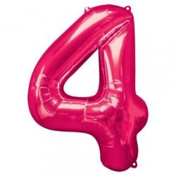 Ballon Rose chiffre 4